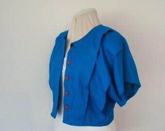 Bright blue short sleeved cropped jacket, up-cycled - approximately size 6/8