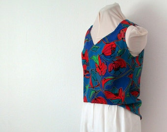 Bright floral printed tank, up-cycled - Approximately size med/large