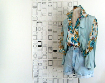 Floral printed blouse with sheer sleeves blue, white, brown and purple - size medium