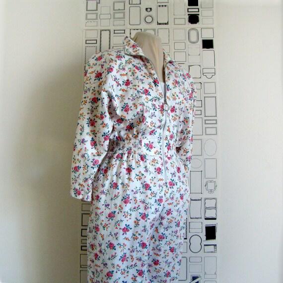 Floral print pantsuit - vintage 80's cotton long sleeve - approx. size medium