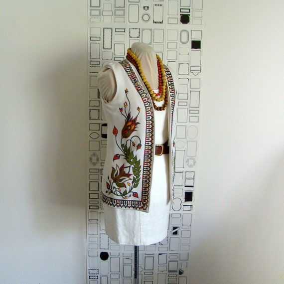 1970's floral print vest cream, brown, orange green and red - small/medium