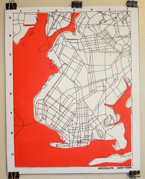 Brooklyn, NY - Hand screen printed graphic map - Signed and Numbered - 16 x 20 inches