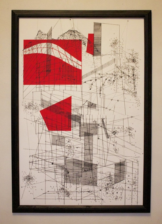 Landscape in Lines - 24 x 36 inches - Screen printed art poster