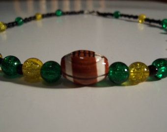 GO DUCKS football necklace