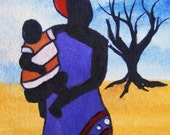 AFRICAN DREAMING SERIES - Tenderness - ORIGINAL ACEO by Jackie Zhu