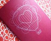SALE - Heart Air Balloon Moleskine Cahier in Red