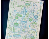Chicago City Map Letterpress Postcard/Save the Date Cards