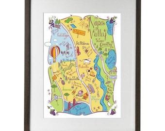 Napa Valley City Map Art Print