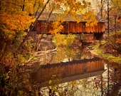 Fall covered bridge photograph 8x10 print Woolslayer  - Safe Passage