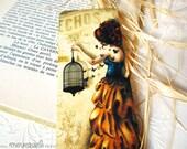 La belle aux papillons - Laminated bookmark