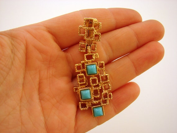 Gold and Turquoise Faux Earrings