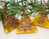 Christmas glass ornaments hand made in amber glass and copper set of three