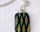 Black and gold diamond design fused glass pendant