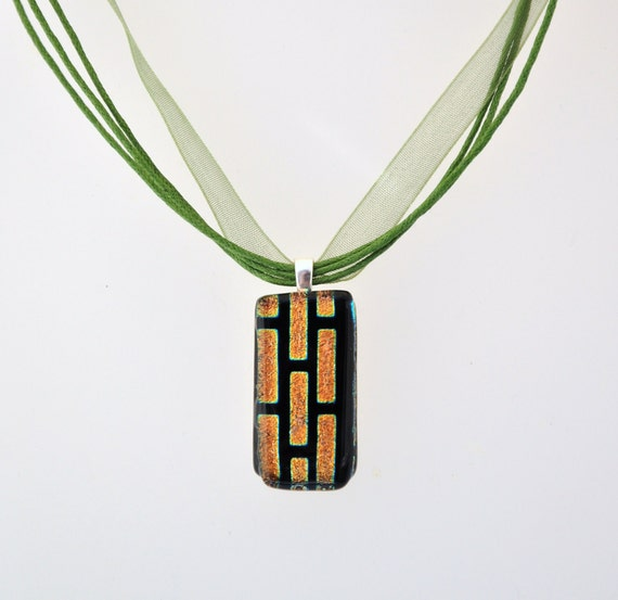 Black and gold necklace with green ribbon adjustable choker