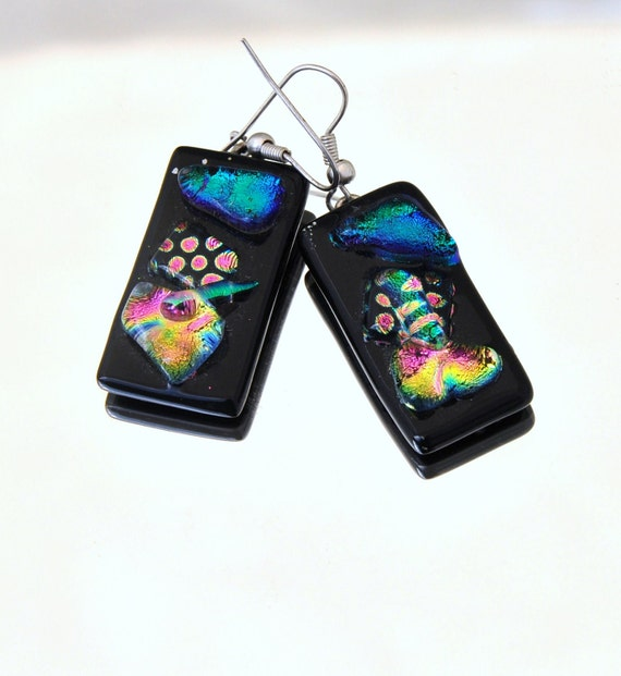 Dangle earrings unique and vibrant colours fused dichroic glass on black