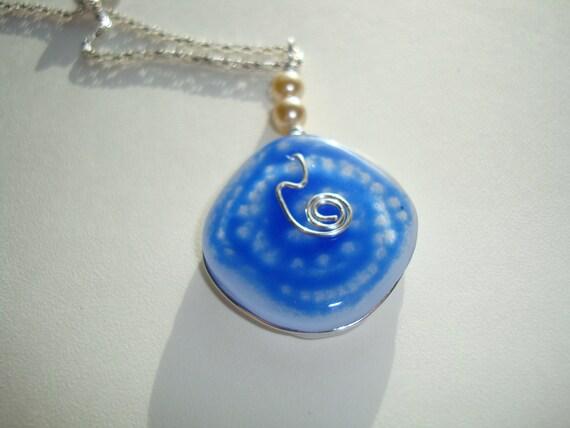 Blue Art glass one of a kind pendant Ocean Swirl