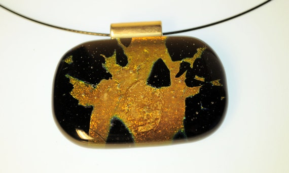 Black and Gold flame fused glass pendant
