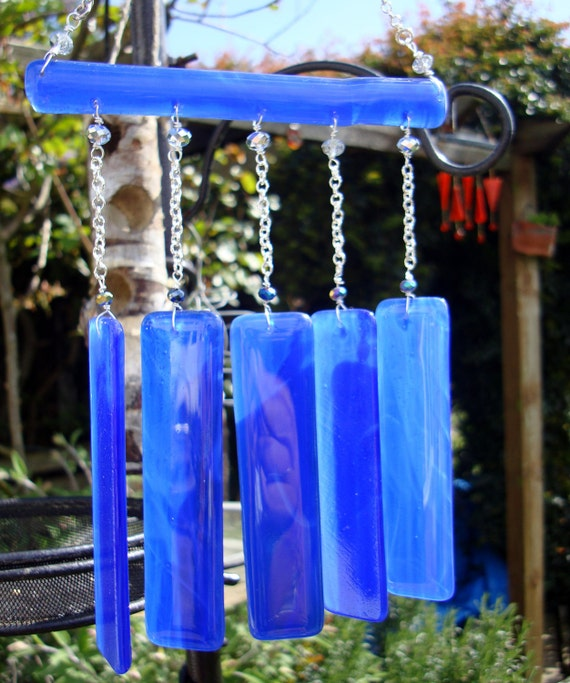 Wind chime blue glass suncatching hanging home or garden decoration