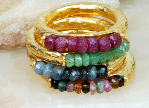 Listing for Ingrid Genuine  Multistone Gold plated over Silver  Stack  Rings