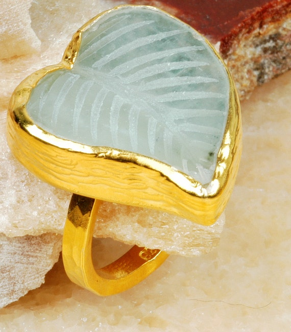 BIG Leaf  Unique Carved  Aquamarine GOLD PLATED over Silver ring