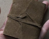 Handbound Mini Pocket Notebook in Brown Suede - Coptic Stitch