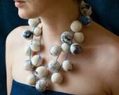 Felted necklace Gzhel / blue white - Free Shipping