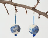 Felted earrings Gzhel / blue white