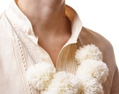 White winter Pom-pom necklace - cute cosy neutral