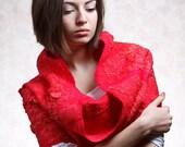 Womans scarf  - cowl, red,scarlet,Woolen Scarf, nuno felted textured, warm