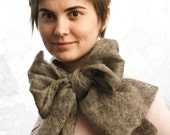 Grey woolen felted scarf for woman Bow - Free Shipping
