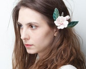 White felted floral fascinator girl hair clip - Free Shipping