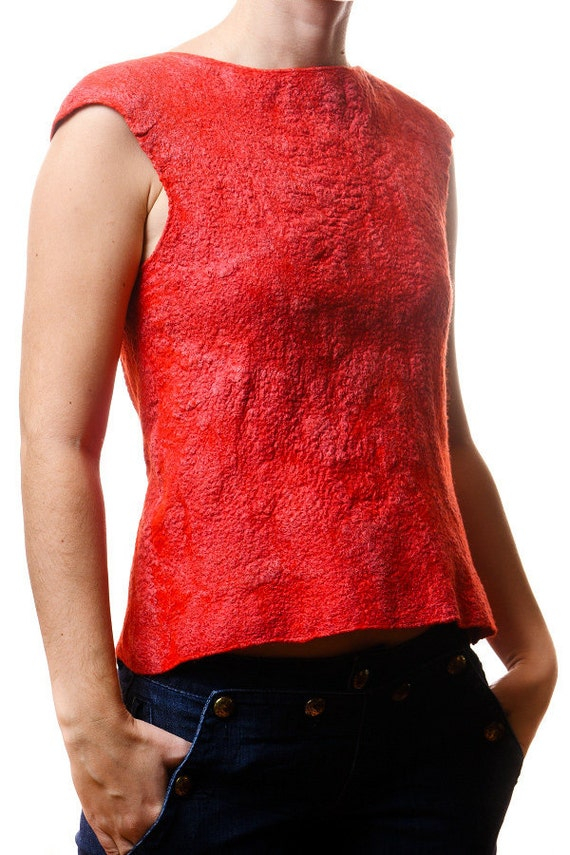 Red blue woolen blouse, T-shirt, two sided, nuno felted textured, warm - Free Shipping