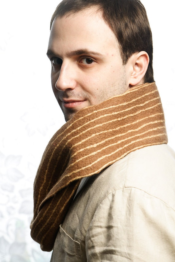 """Felted scarf  """"Brown Strips""""  nuno felt, for her, for him, brown, beige, mustard"""