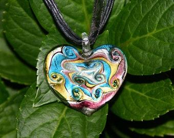 GLASS HEART PENDANT---Ribbon/Cloth Necklace---