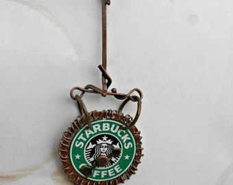 Starbucks-UpCycled-Frappuccino Cap-Bronze-Wire Wrapped-Necklace-