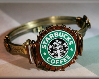 Starbucks-UpCycled-Frappuccino Cap-Brass-Bronze-Wire Wrapped-Bangle Bracelet