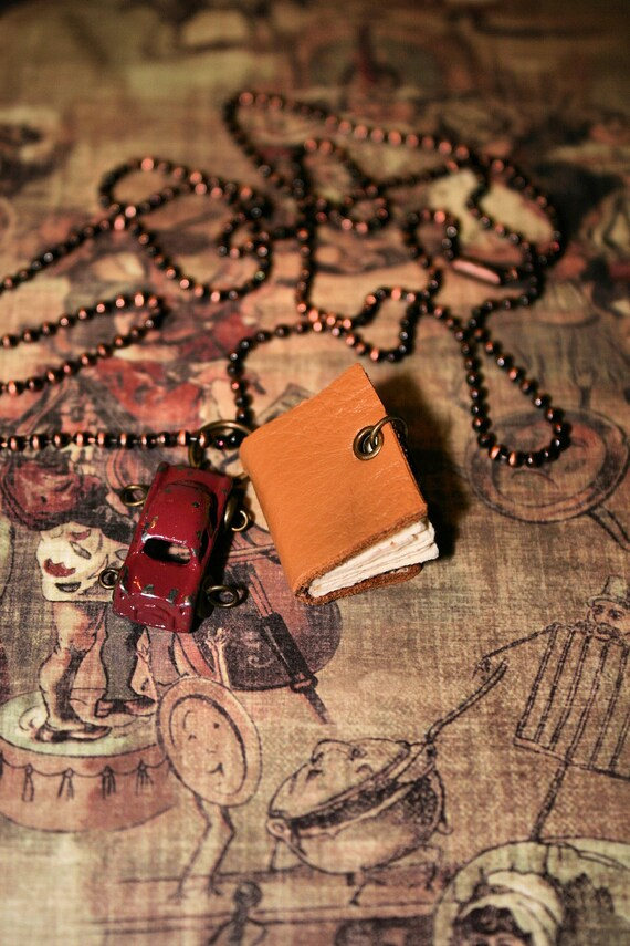 Travelers Journal Necklace-Handmade Miniature Vintage Leather Wearable Journal with Car Charm