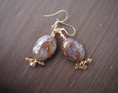 Petersite and Swarovski Crystal Gold Earrings