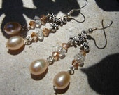 Peach and Swarovski Crystal Dangle Earrings