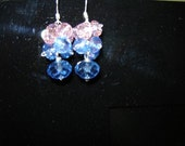 Sterling Silver Fire Polished Blue and Pink Crystal Cluster Earrings