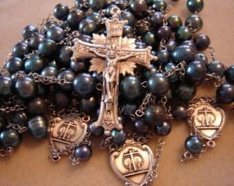 Handmade Sterling Silver & Black Freshwater Pearl Wedding Lasso (Lazo) Rosary