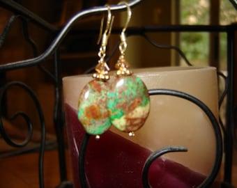 Gold African Jasper and Swarovski Colorado Topaz Earrings