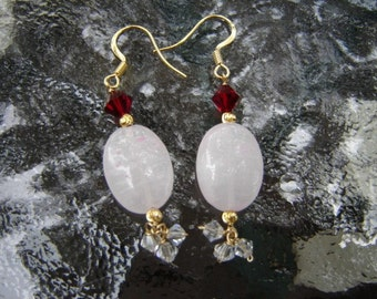 Gold Rose Quartz and Siam Swarovski Crystal Earrings