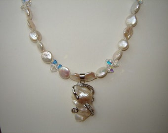 Coin Pearl and Swarovski Crystal Necklace