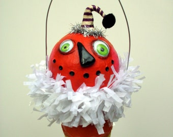 Halloween Pumpkin Candy Corn Vintage Look Ornament Decoration