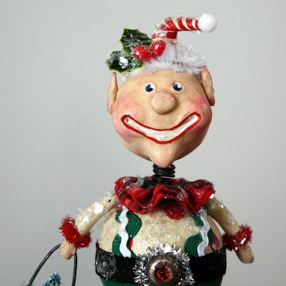 whimsical folk art christmas elf decoration by junebugsbylinda