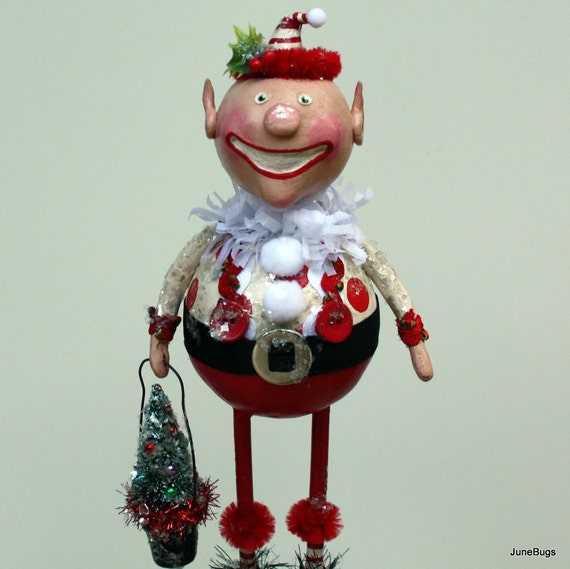 Christmas Holiday Elf Folk Art Doll Collectible