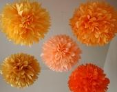 Sunset Orange - 5 poms