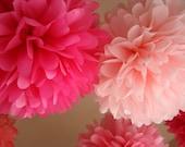 Pink Love .. Tissue Paper Poms / Weddings / Bridal Shower / Baby Shower / Birthday / Party Decoration / DIY - set of 10