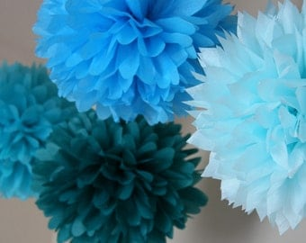 Party Pom decor - Caribbean.. set of 7